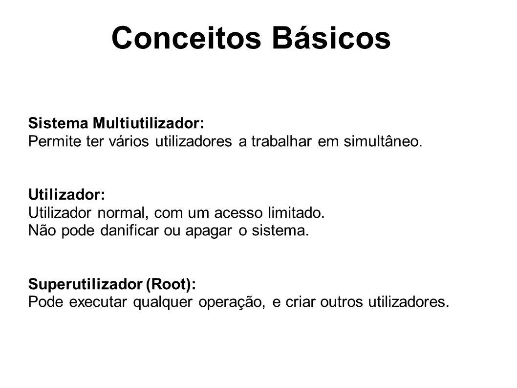 Conceitos Básicos Sistema Multiutilizador: Permite ter vários utilizadores a trabalhar em simultâneo.