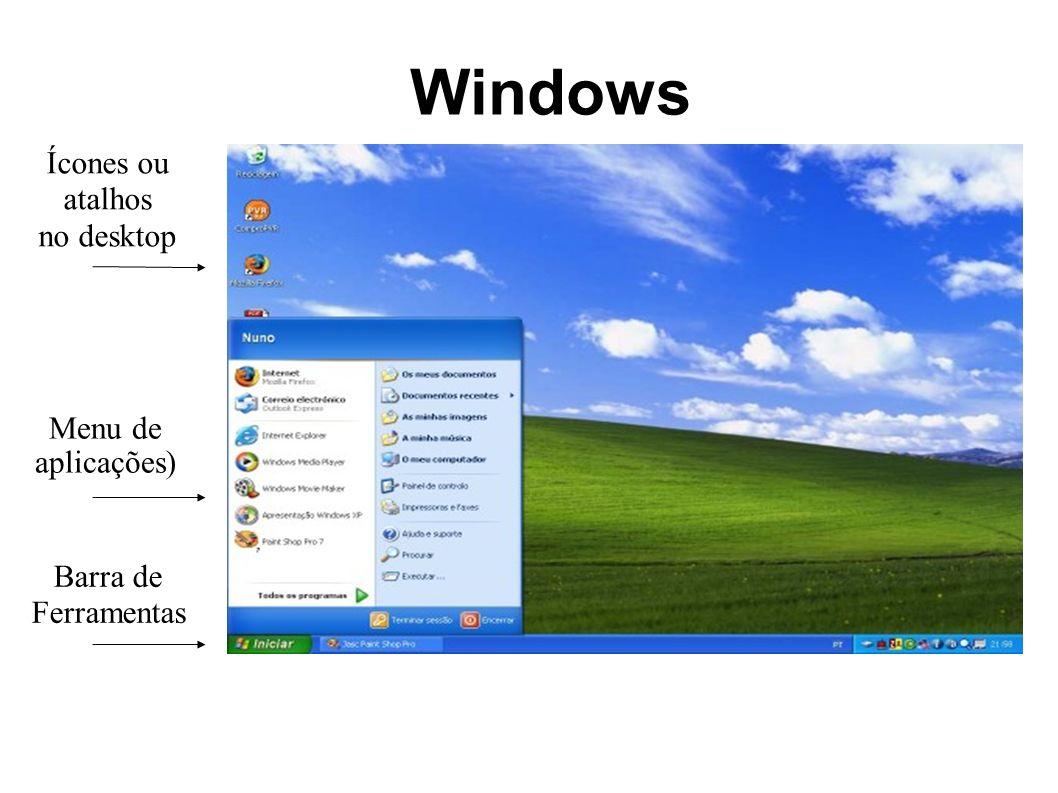 Windows Ícones ou atalhos no desktop Menu de aplicações) Barra de