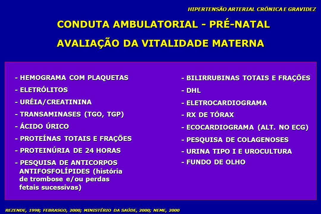 CONDUTA AMBULATORIAL - PRÉ-NATAL AVALIAÇÃO DA VITALIDADE MATERNA