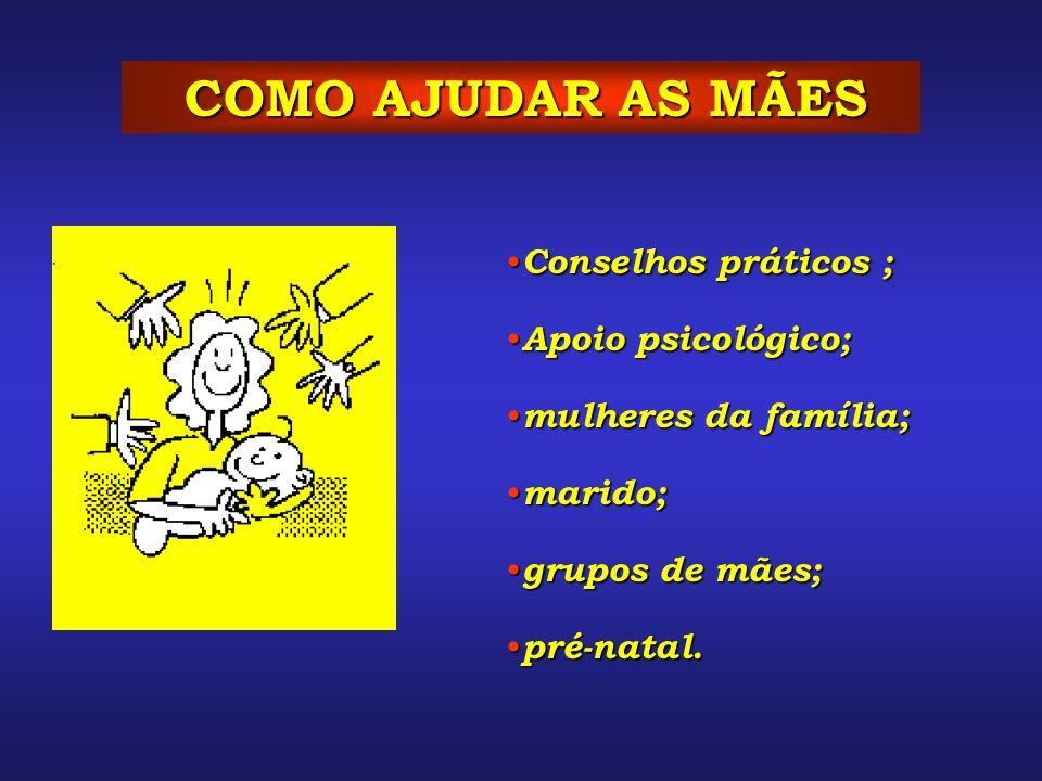 COMO AJUDAR AS MÃES Conselhos práticos ; Apoio psicológico;