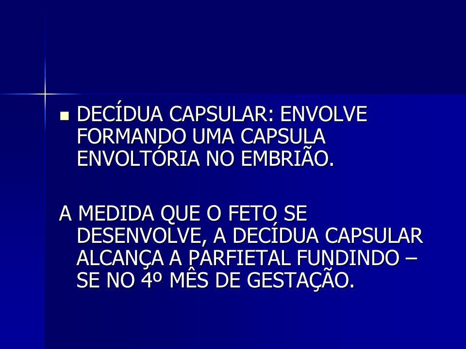 DECÍDUA CAPSULAR: ENVOLVE FORMANDO UMA CAPSULA ENVOLTÓRIA NO EMBRIÃO.