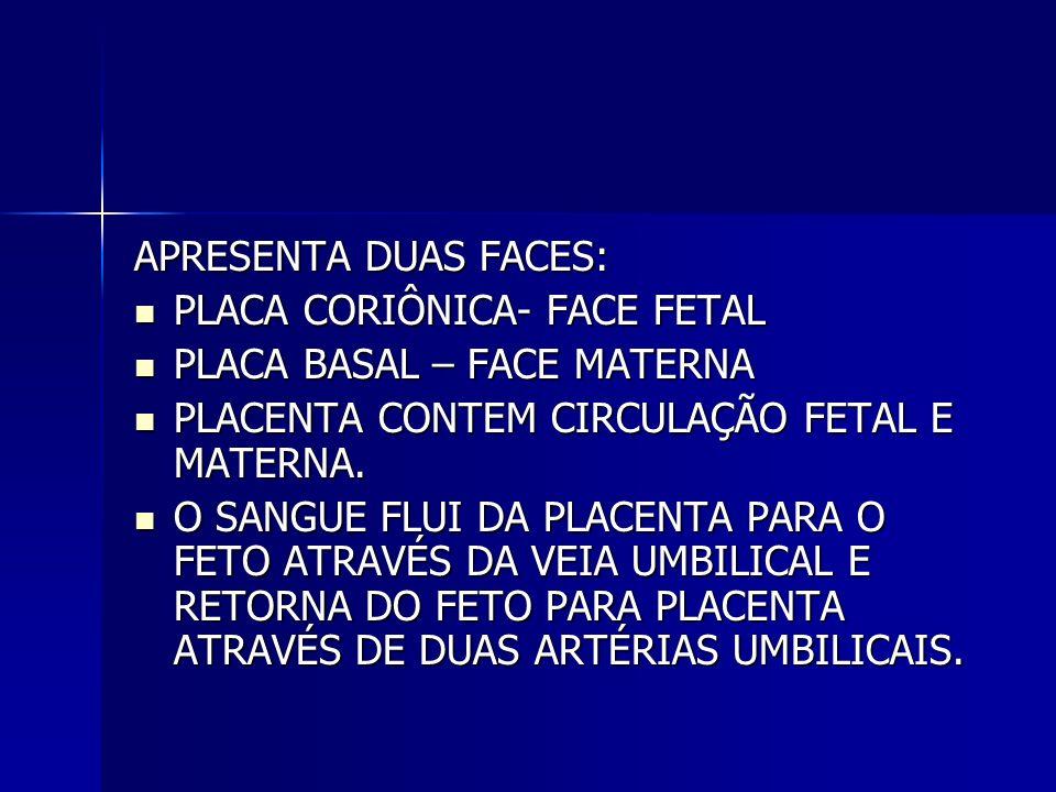 APRESENTA DUAS FACES: PLACA CORIÔNICA- FACE FETAL. PLACA BASAL – FACE MATERNA. PLACENTA CONTEM CIRCULAÇÃO FETAL E MATERNA.