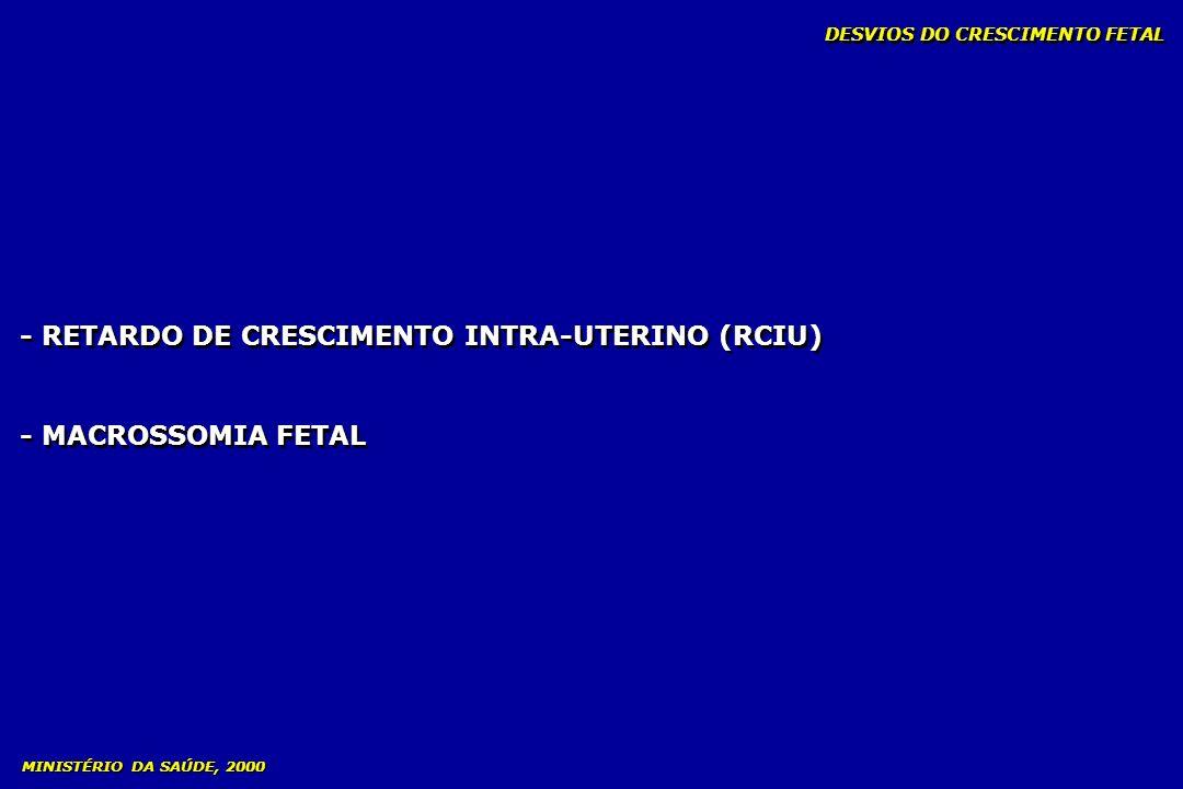 - RETARDO DE CRESCIMENTO INTRA-UTERINO (RCIU) - MACROSSOMIA FETAL