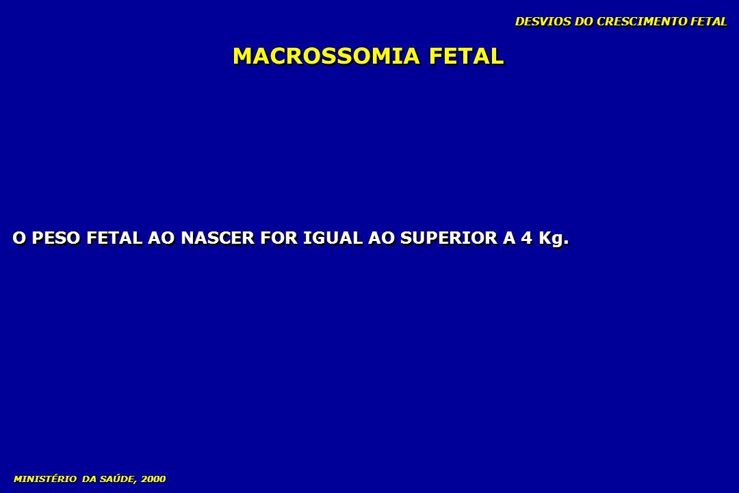 MACROSSOMIA FETAL O PESO FETAL AO NASCER FOR IGUAL AO SUPERIOR A 4 Kg.