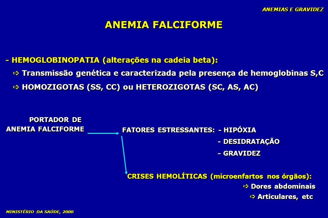 ANEMIA FALCIFORME - HEMOGLOBINOPATIA (alterações na cadeia beta):