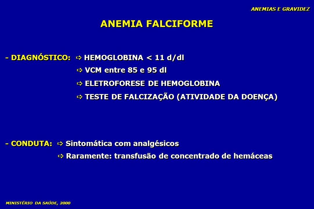 ANEMIA FALCIFORME - DIAGNÓSTICO:  HEMOGLOBINA < 11 d/dl