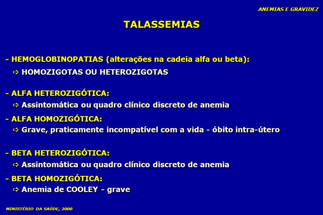TALASSEMIAS - HEMOGLOBINOPATIAS (alterações na cadeia alfa ou beta):