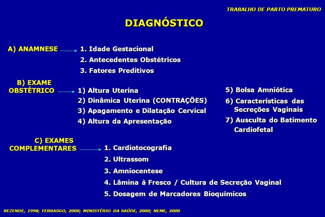 DIAGNÓSTICO 1. Idade Gestacional A) ANAMNESE