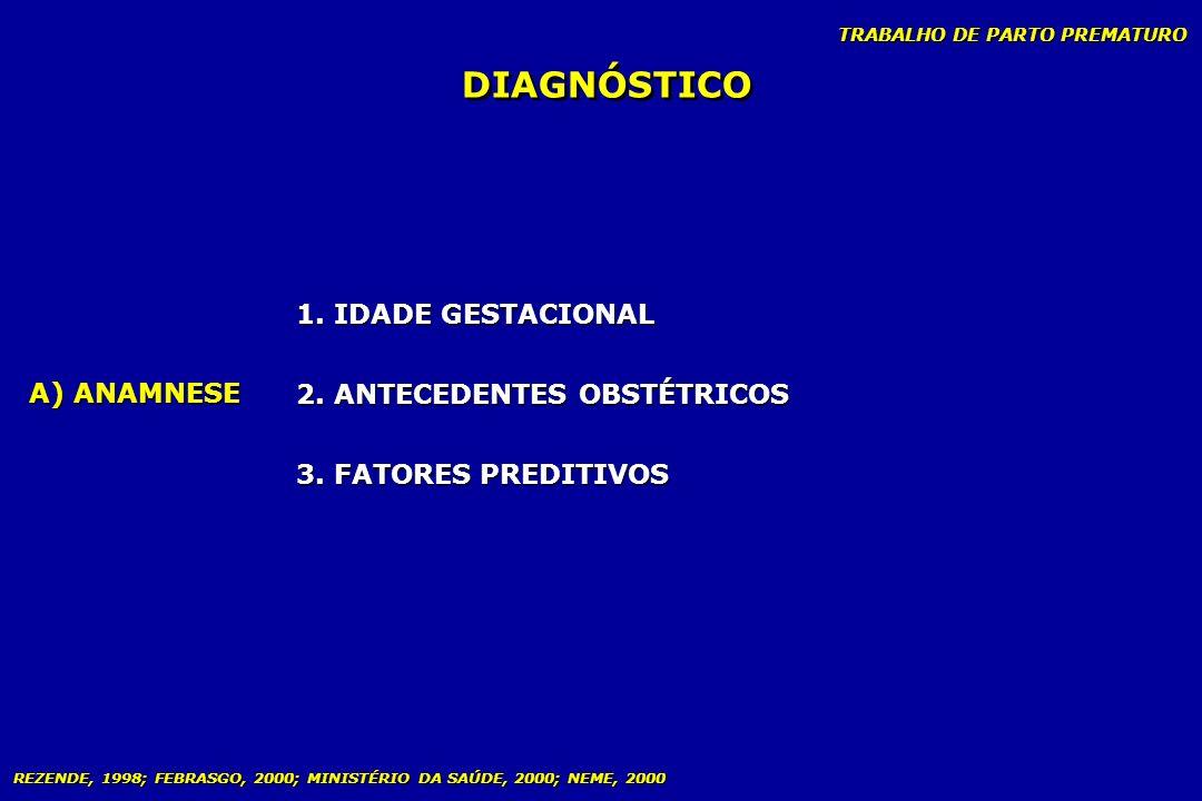DIAGNÓSTICO 1. IDADE GESTACIONAL 2. ANTECEDENTES OBSTÉTRICOS