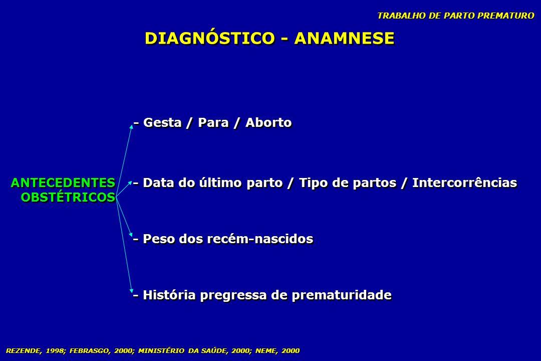 DIAGNÓSTICO - ANAMNESE