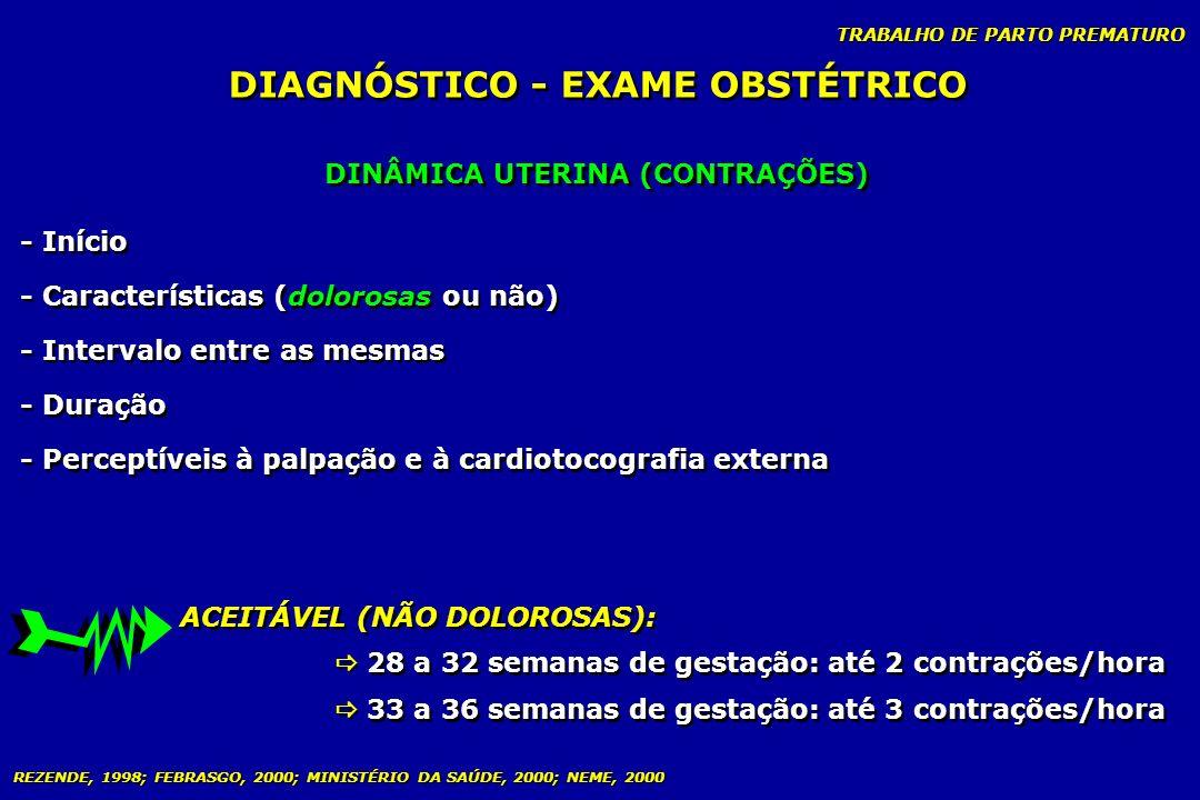 DIAGNÓSTICO - EXAME OBSTÉTRICO DINÂMICA UTERINA (CONTRAÇÕES)