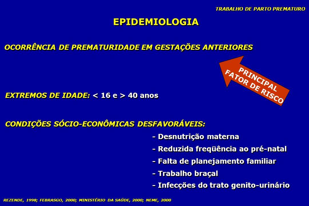 EPIDEMIOLOGIA OCORRÊNCIA DE PREMATURIDADE EM GESTAÇÕES ANTERIORES
