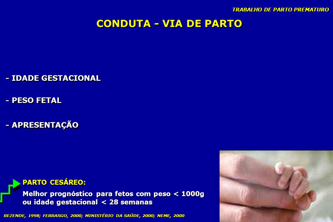 CONDUTA - VIA DE PARTO - IDADE GESTACIONAL - PESO FETAL - APRESENTAÇÃO