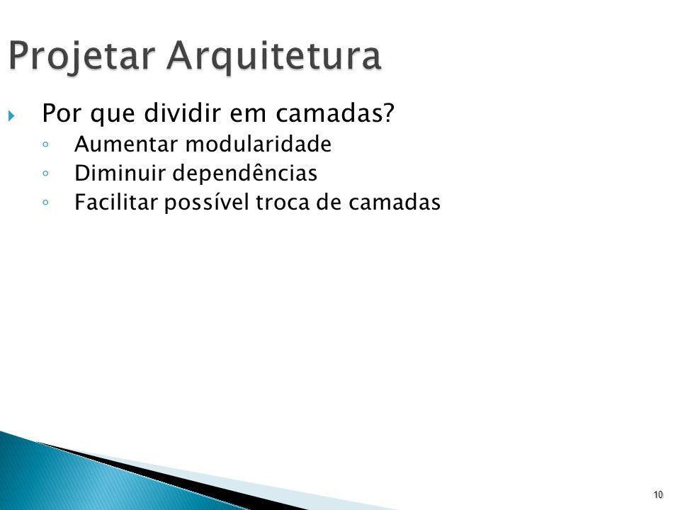 Projetar Arquitetura Por que dividir em camadas Aumentar modularidade