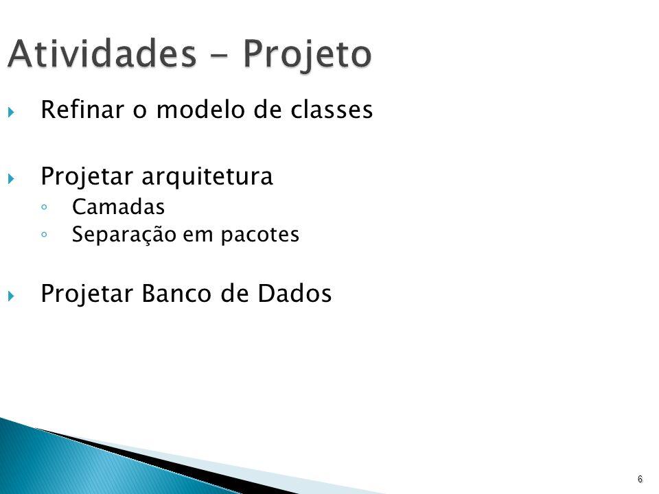 Atividades - Projeto Refinar o modelo de classes Projetar arquitetura