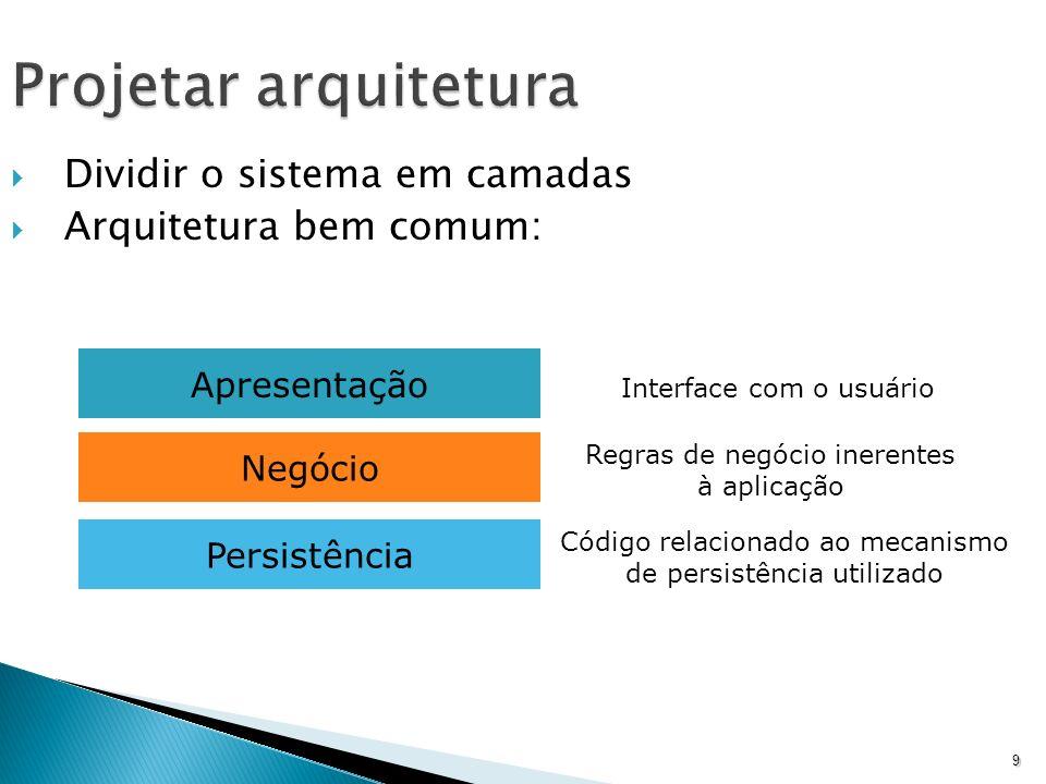 Projetar arquitetura Dividir o sistema em camadas