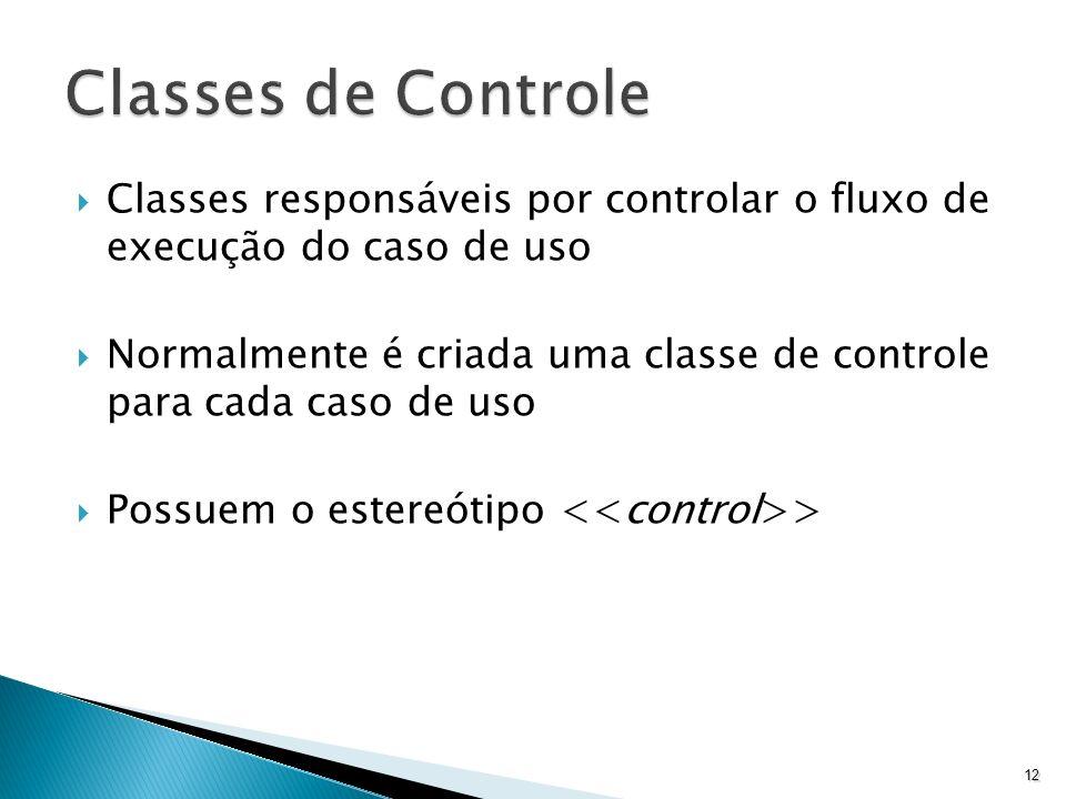 Classes de Controle Classes responsáveis por controlar o fluxo de execução do caso de uso.