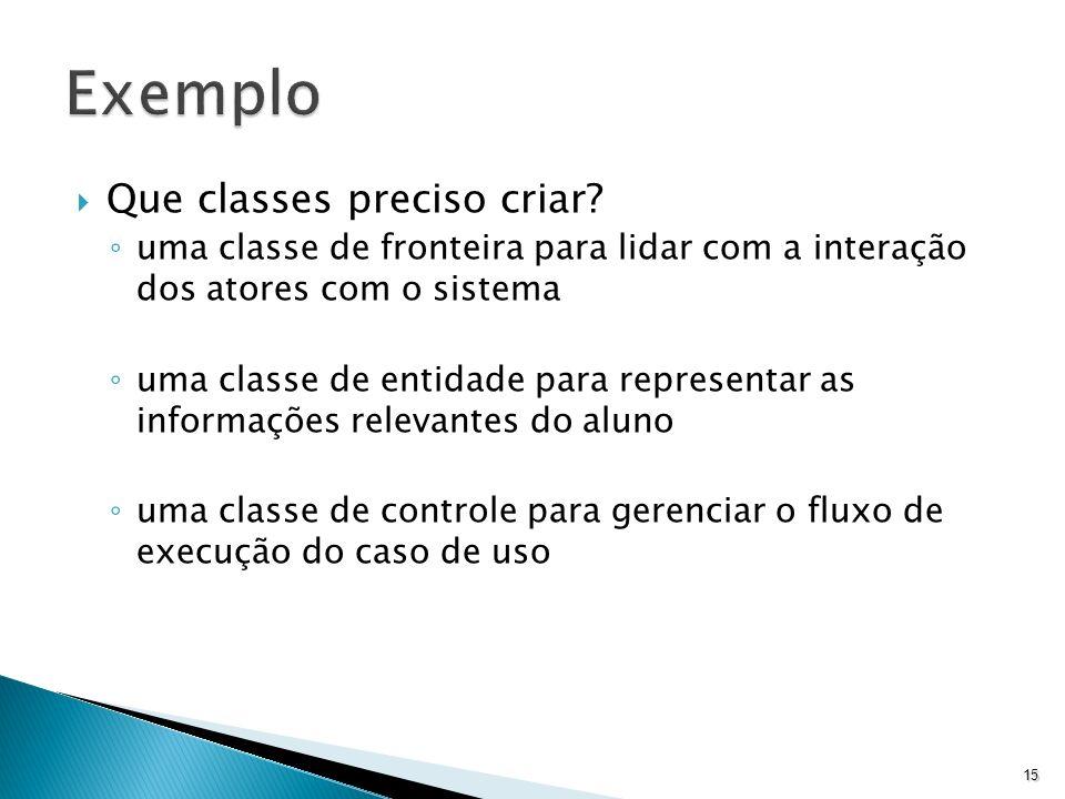 Exemplo Que classes preciso criar