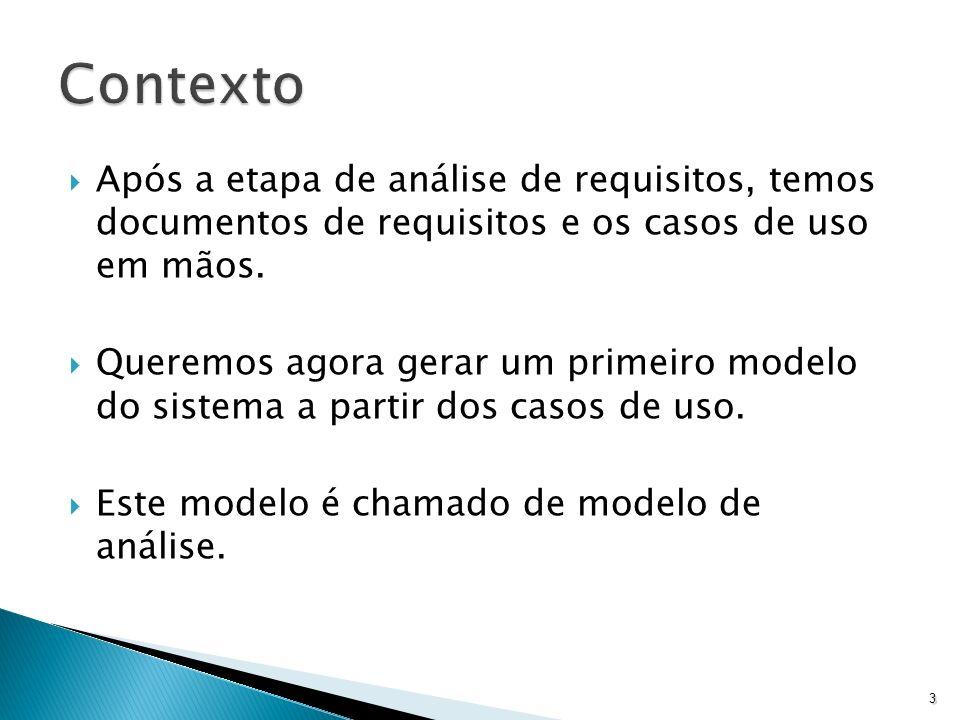 Contexto Após a etapa de análise de requisitos, temos documentos de requisitos e os casos de uso em mãos.