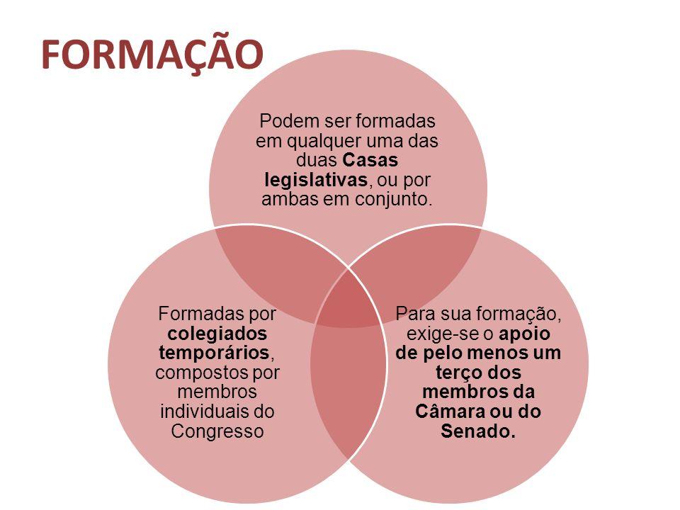 FORMAÇÃO Podem ser formadas em qualquer uma das duas Casas legislativas, ou por ambas em conjunto.
