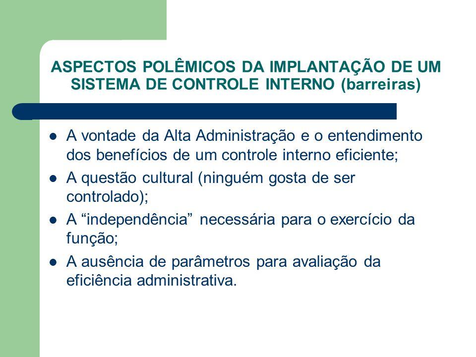 ASPECTOS POLÊMICOS DA IMPLANTAÇÃO DE UM SISTEMA DE CONTROLE INTERNO (barreiras)