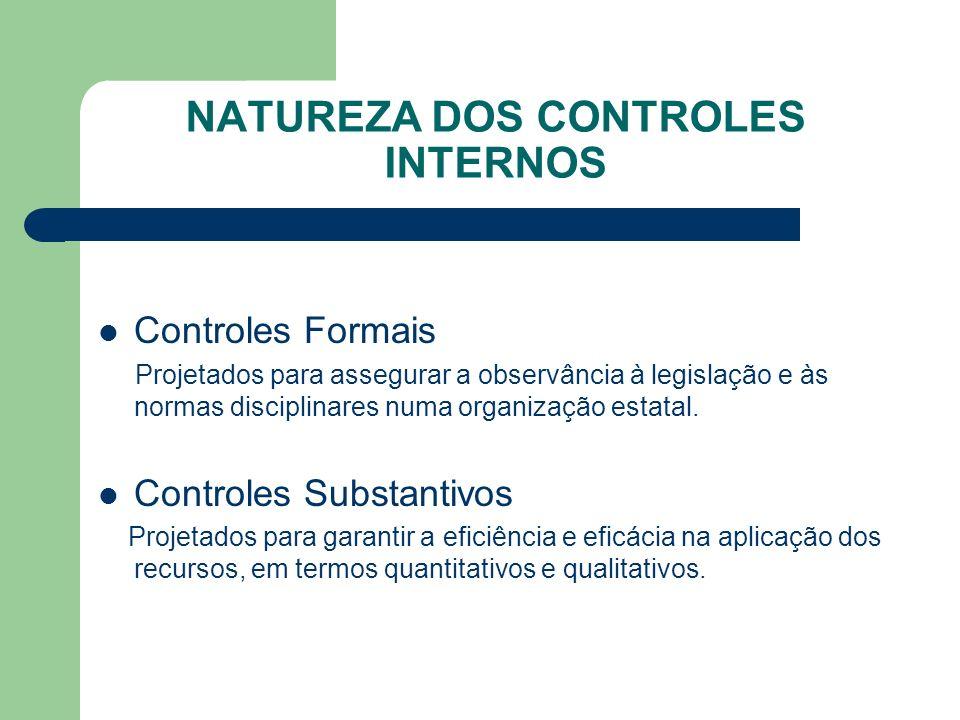 NATUREZA DOS CONTROLES INTERNOS