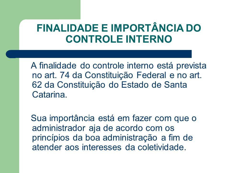 FINALIDADE E IMPORTÂNCIA DO CONTROLE INTERNO