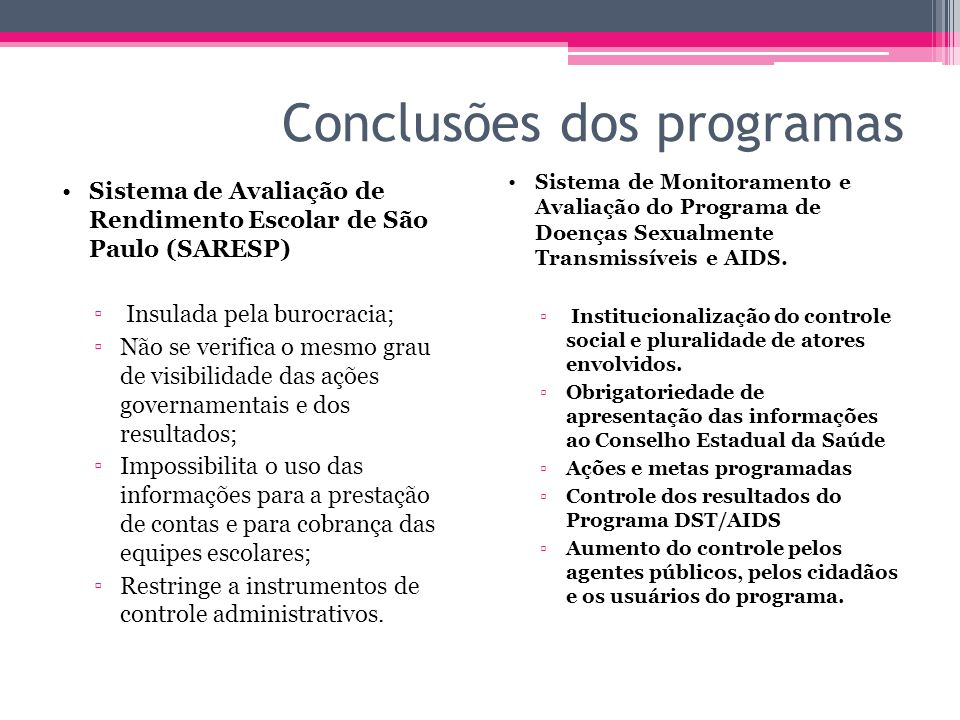 Conclusões dos programas