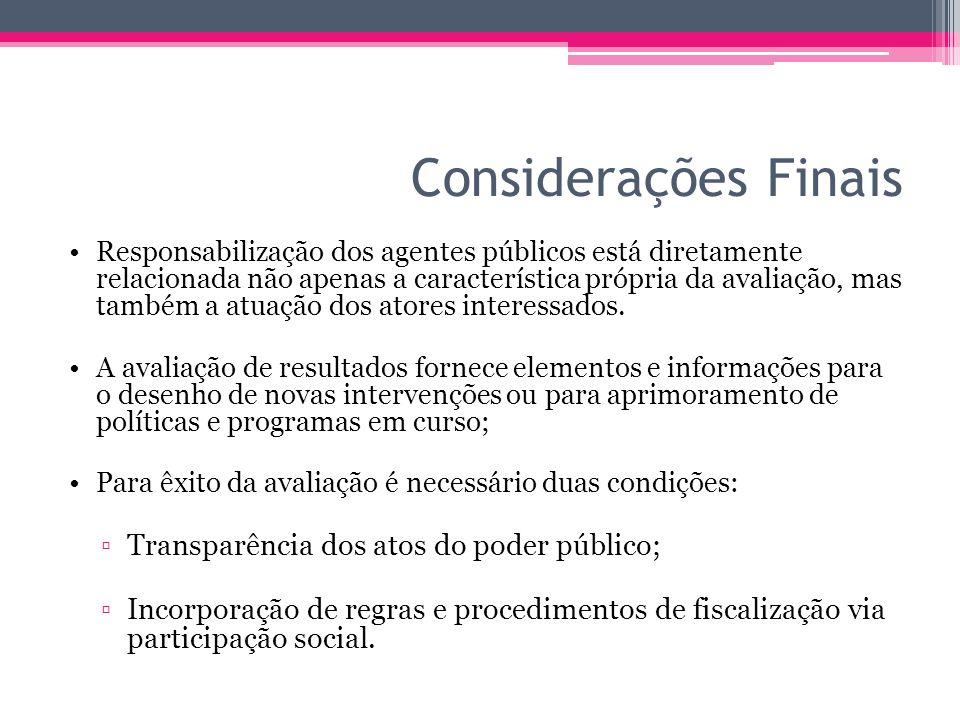 Considerações Finais Transparência dos atos do poder público;