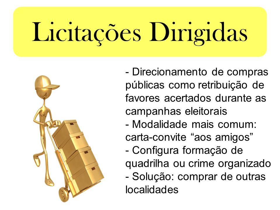 Licitações Dirigidas Direcionamento de compras públicas como retribuição de favores acertados durante as campanhas eleitorais.