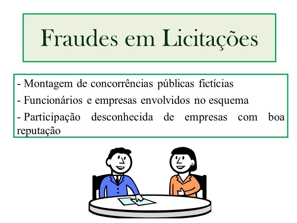 Fraudes em Licitações Montagem de concorrências públicas fictícias