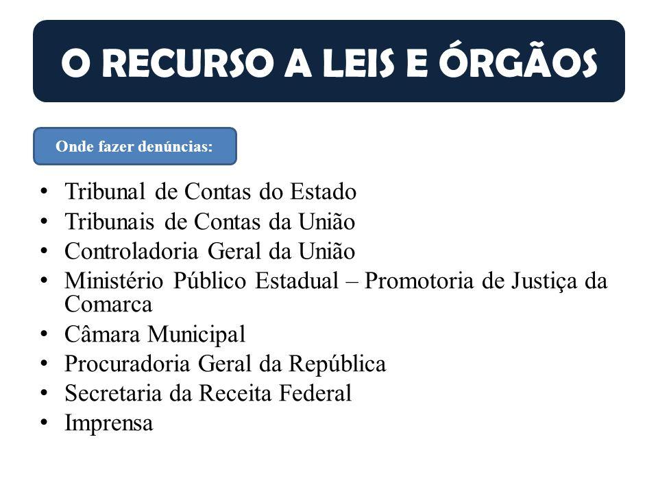 O RECURSO A LEIS E ÓRGÃOS