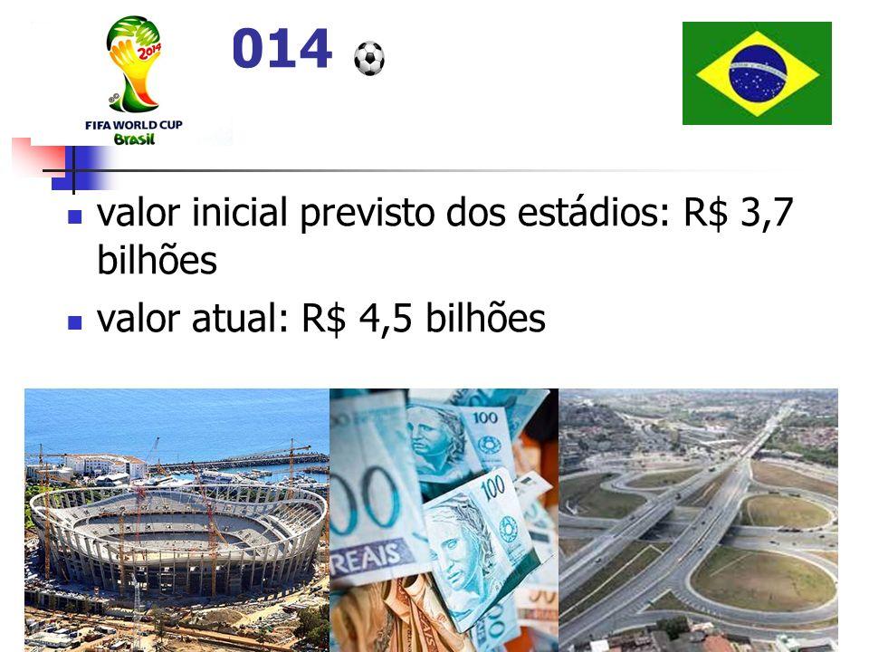 Copa 2014 valor inicial previsto dos estádios: R$ 3,7 bilhões
