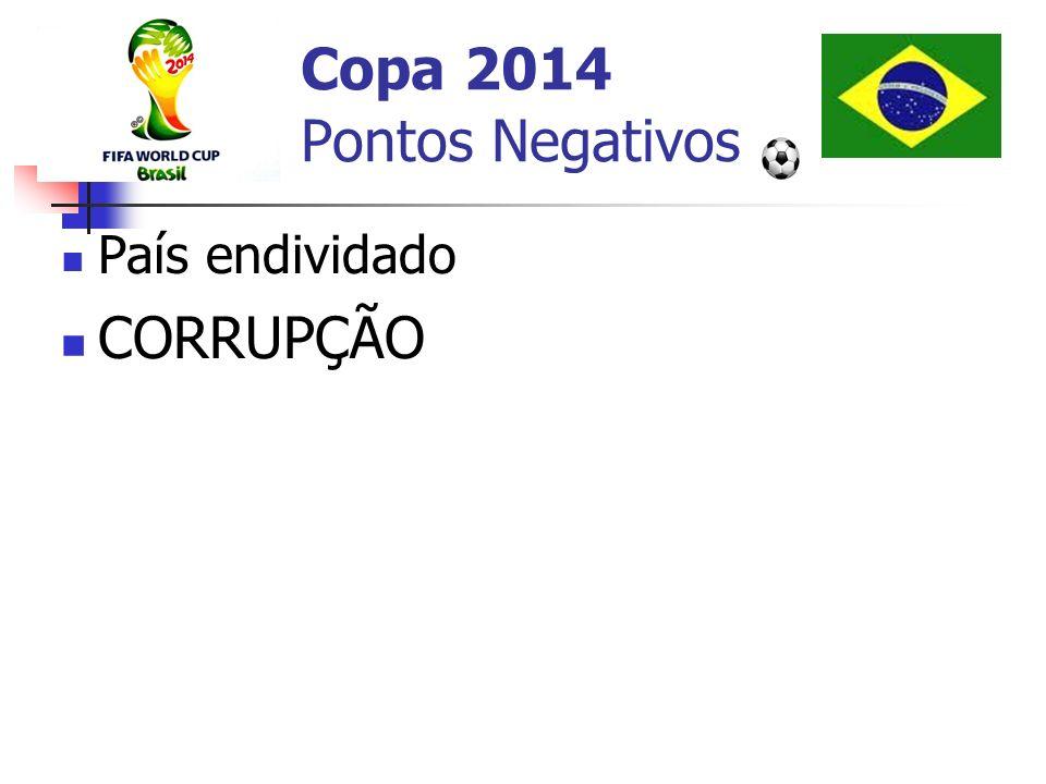 Copa 2014 Pontos Negativos País endividado CORRUPÇÃO