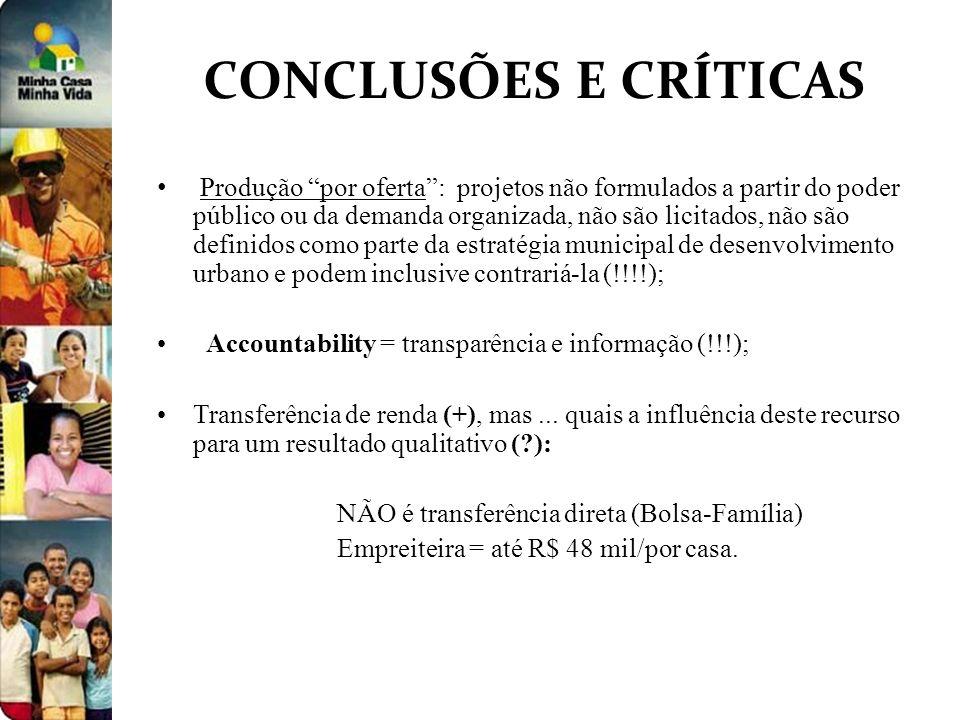 CONCLUSÕES E CRÍTICAS