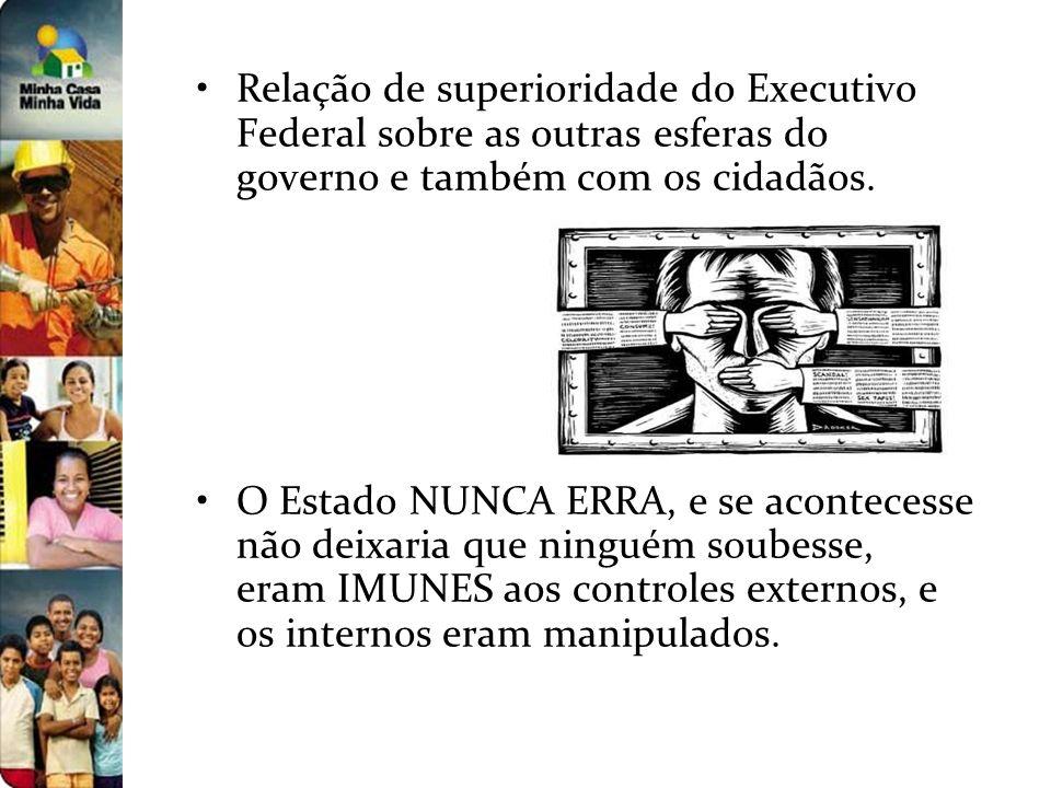 Relação de superioridade do Executivo Federal sobre as outras esferas do governo e também com os cidadãos.