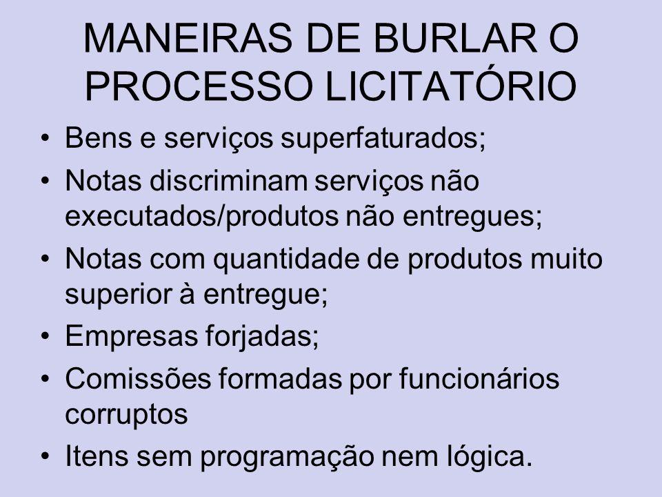 MANEIRAS DE BURLAR O PROCESSO LICITATÓRIO