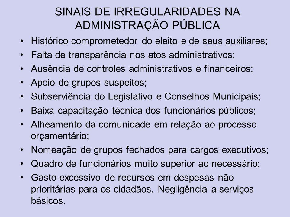 SINAIS DE IRREGULARIDADES NA ADMINISTRAÇÃO PÚBLICA