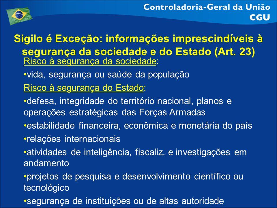 Sigilo é Exceção: informações imprescindíveis à segurança da sociedade e do Estado (Art. 23)