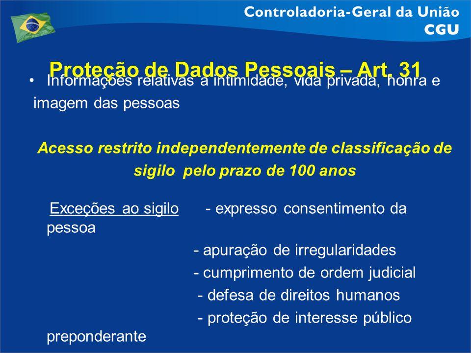 Proteção de Dados Pessoais – Art. 31