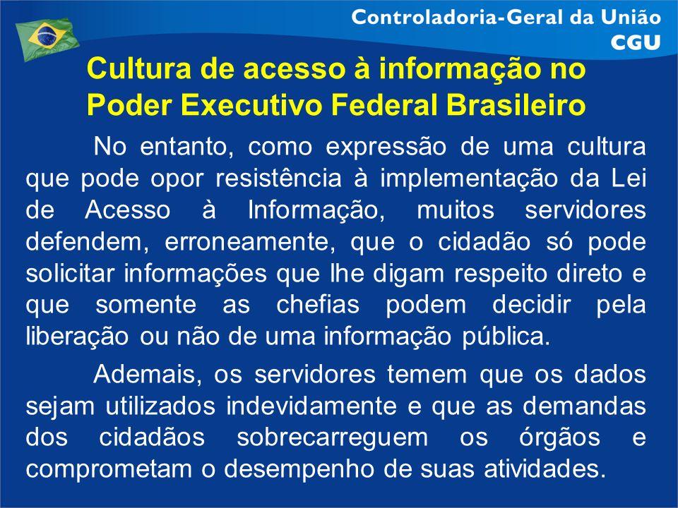 Cultura de acesso à informação no Poder Executivo Federal Brasileiro