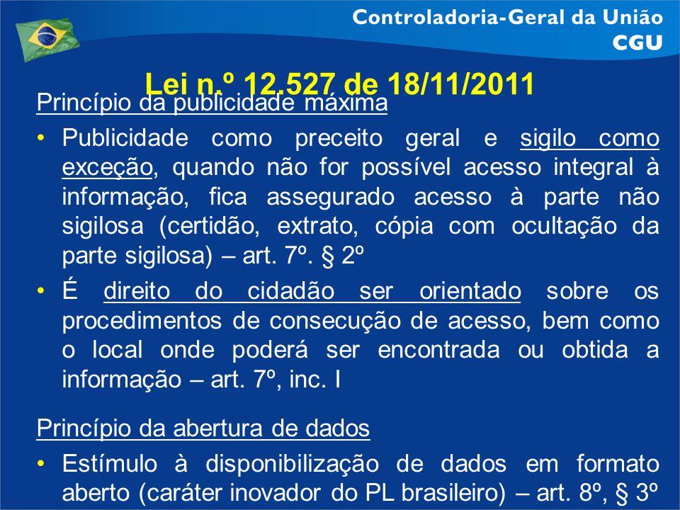 Lei n.º 12.527 de 18/11/2011 Princípio da publicidade máxima