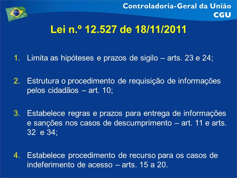 Lei n.º 12.527 de 18/11/2011Limita as hipóteses e prazos de sigilo – arts. 23 e 24;
