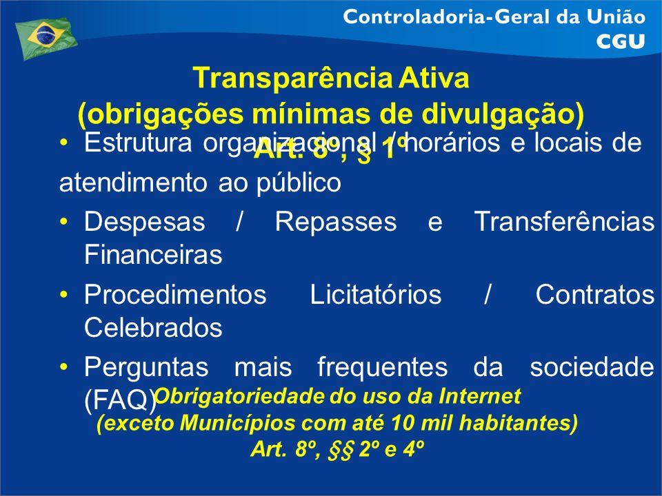 Transparência Ativa (obrigações mínimas de divulgação) Art. 8º, § 1º