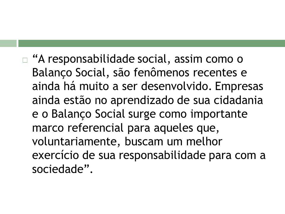 A responsabilidade social, assim como o Balanço Social, são fenômenos recentes e ainda há muito a ser desenvolvido.