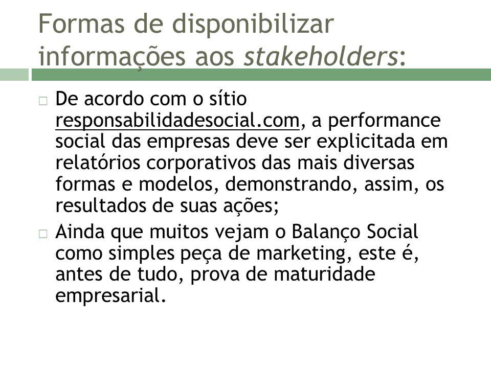 Formas de disponibilizar informações aos stakeholders: