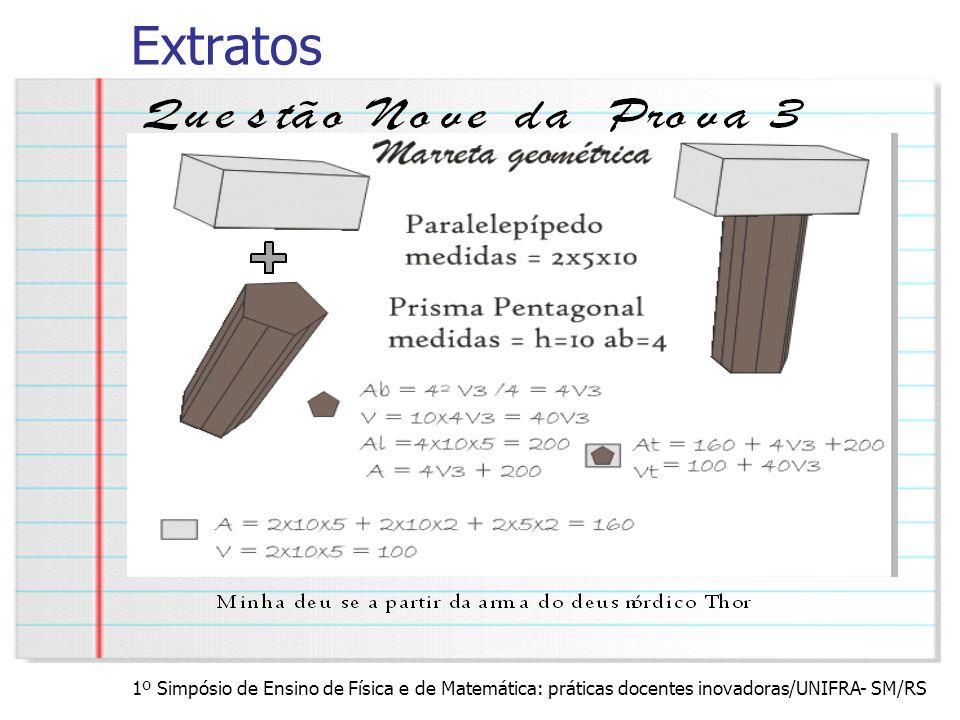 Extratos 1º Simpósio de Ensino de Física e de Matemática: práticas docentes inovadoras/UNIFRA- SM/RS.