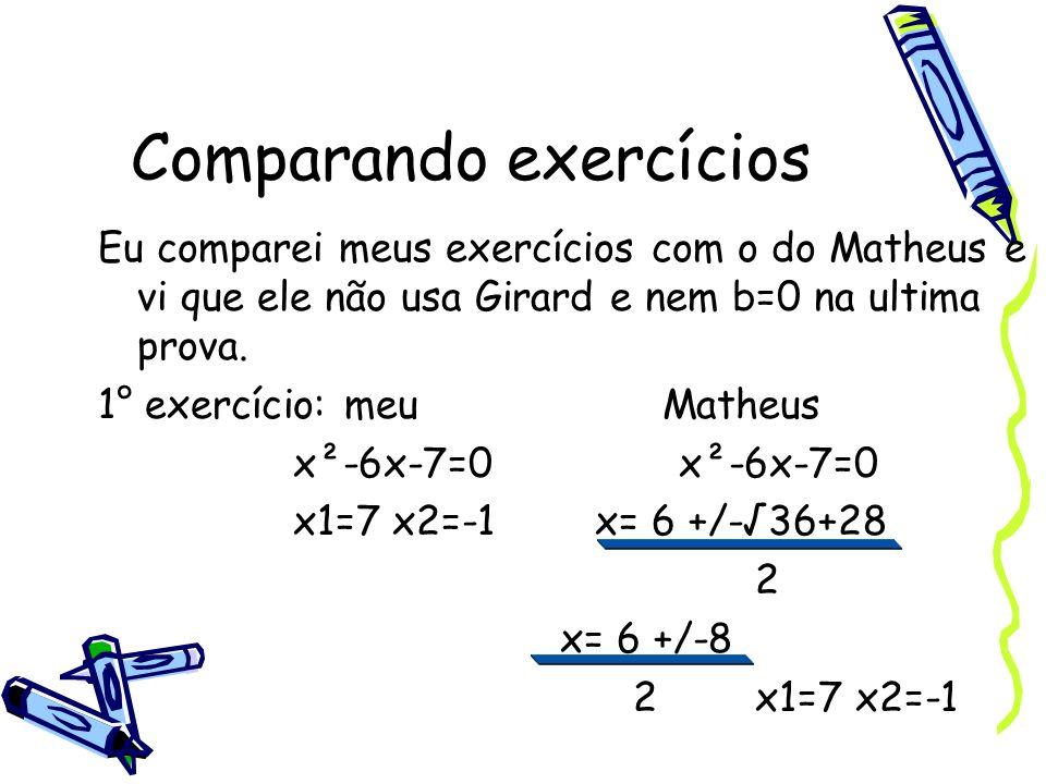 Comparando exercícios