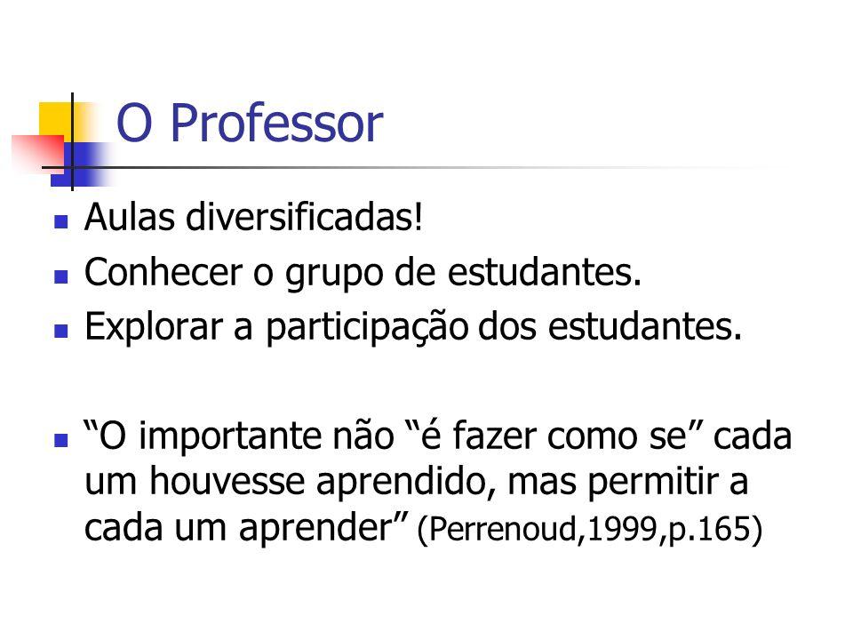O Professor Aulas diversificadas! Conhecer o grupo de estudantes.
