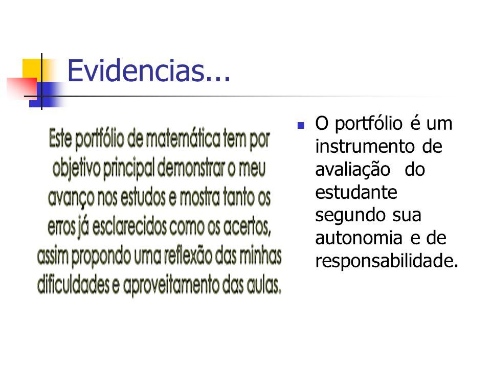 Evidencias...O portfólio é um instrumento de avaliação do estudante segundo sua autonomia e de responsabilidade.